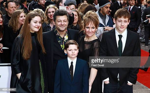 Ruby Serkis Andy Serkis Lorraine Ashbourne Sonny Serkis and Louis Serkis attend the Jameson Empire Awards 2015 at Grosvenor House on March 29 2015 in...