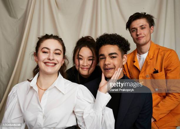 Ruby Serkis Thaddea Graham Amir Wilson and Gijs Blom of The Letter for the King pose for a portrait during the Netflix YA Press Day at The London...