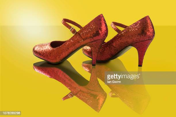 ruby shoes - metallic shoe stock pictures, royalty-free photos & images