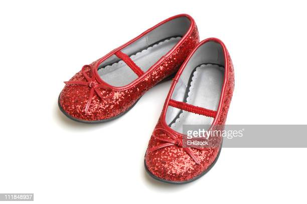 Ruby Slippers Little Girl Shoes Isolated on White Background
