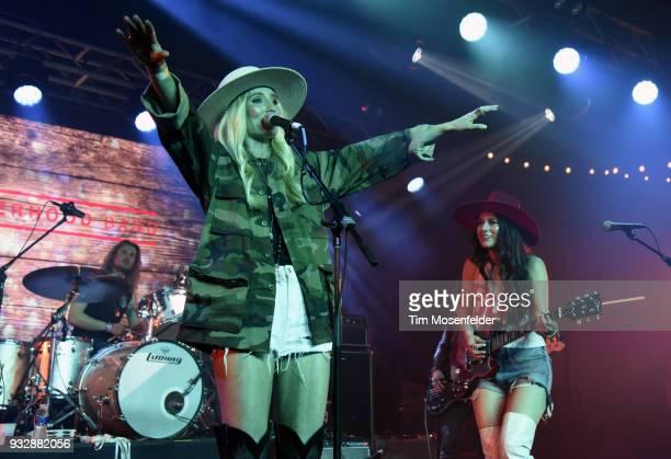 Ruby Stewart and Alyssa Bonagura of The Sisterhood perform during the Budweiser showcase at Fair Market on March 15 2018 in Austin Texas