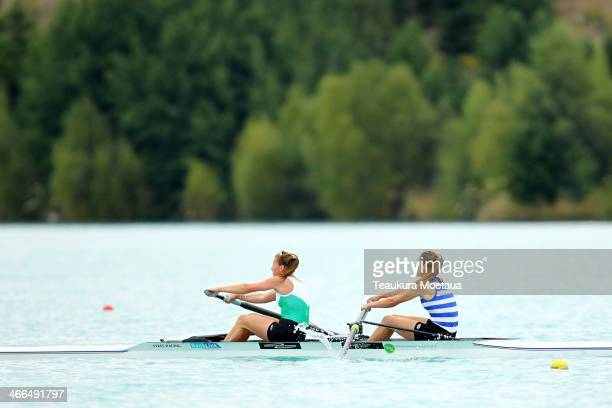 Ruby Tew and Holly Greenslade of Central RPC compete in the Womans open coxless pair oars final during the South Island Club Championships at Lake...