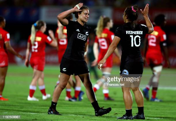 Ruby Tui and Theresa Fitzpatrick of New Zealand celebrate after winning the Women's Cup Final match between Canada and New Zealand on Day Three of...