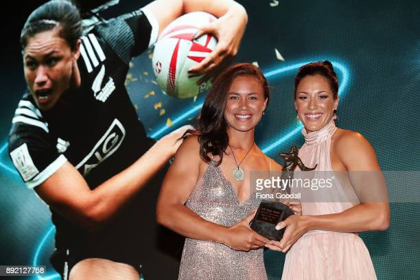 Ruby Tui of Canterbury wins the Black Ferns Player of the Year with presenter Sophie Pascoe during the ASB Rugby Awards 2018 at Sky City on December...