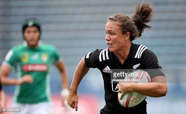 Ruby Tui of New Zealand in action against Brazil during the Women's HSBC Sevens World Series at Arena Barueri on February 21 2016 in Barueri Brazil