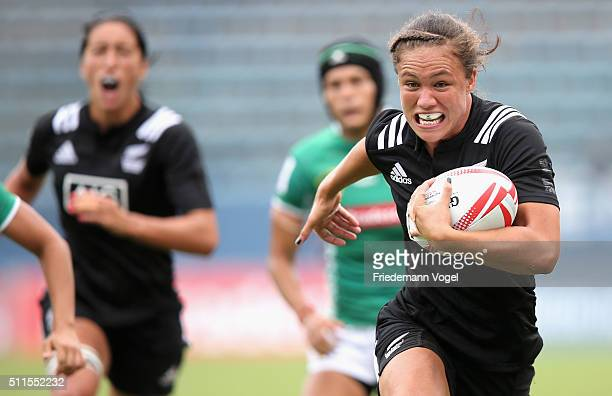 Ruby Tui of New Zealand in action against Brazil during the Women's HSBC Sevens World Series at Arena Barueri on February 21 2016 in Barueri Brazil