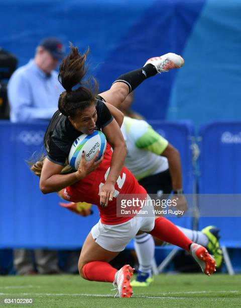 Ruby Tui of New Zealand is tackled in the air by Amy Wilson Hardy of Great Britain resulting in a yellow card during the Women's Rugby Sevens Semi...