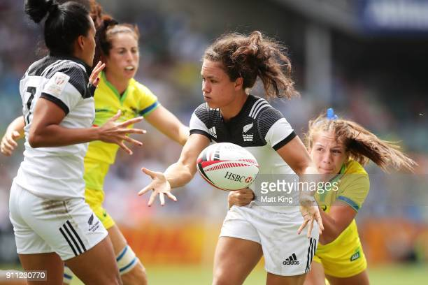 Ruby Tui of New Zealand passes in the final match against Australia during day three of the 2018 Sydney Sevens at Allianz Stadium on January 28 2018...