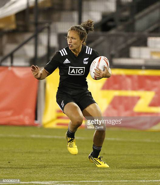 Ruby Tui of New Zealand runs with the ball during the Final match against Australia at Fifth Third Bank Stadium on April 9 2016 in Kennesaw Georgia