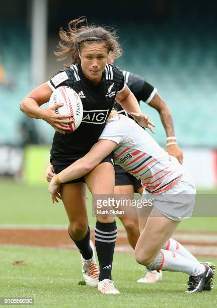 Ruby Tui of New Zeland in action in the womens pool match between New Zealand and England during day one of the 2018 Sydney Sevens at Allianz Stadium...