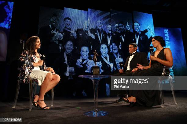 Ruby Tui of the Black Ferns Sevens interviews on stage during the 2018 ASB Rugby Awards at SkyCity Convention Centre on December 13 2018 in Auckland...