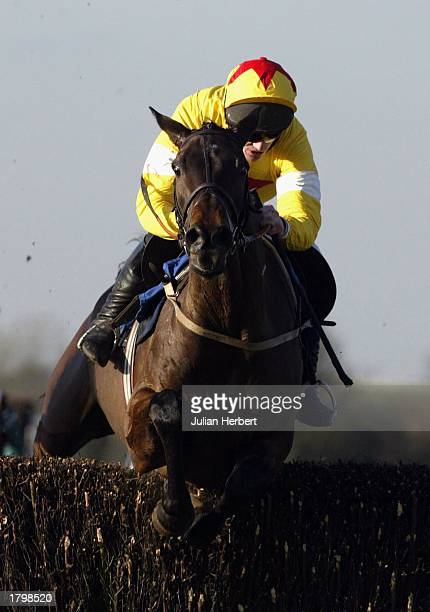 Ruby Walsh and Azertyuiop lead the Marcus Foley riden Got One Too over the 2ND last fence before landing The Georgie Newall Novices Steeple Chase...