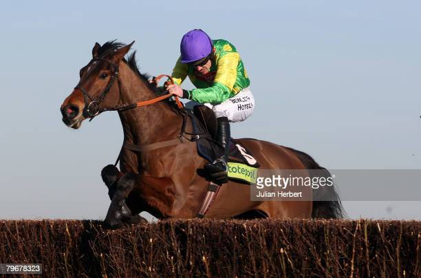 Ruby Walsh and Master Minded clears the last fence to land The Totepool Game Spirit Steeple Chase Race run at Newbury Racecourse on February 9 in...