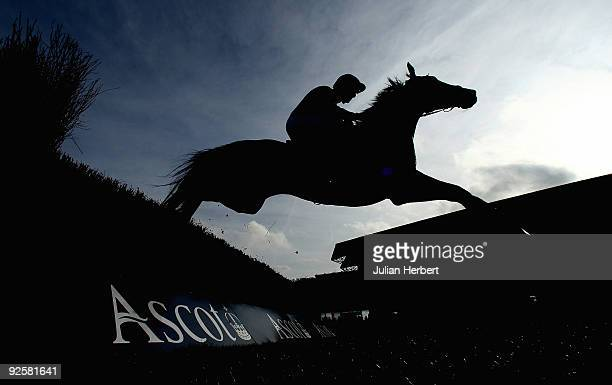 Ruby Walsh and Sanglote clear a fence during The Ascot Underwriting Beinners' Steeple Chase Race run at Ascot Racecourse on October 31 2009 in Ascot...