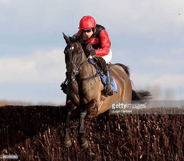 Ruby Walsh and Tataniano clear a fence during The MC Seafoods Novices' Steeple Chase Race run at Newbury Racecourse on January 29, 2010 in Newbury,...