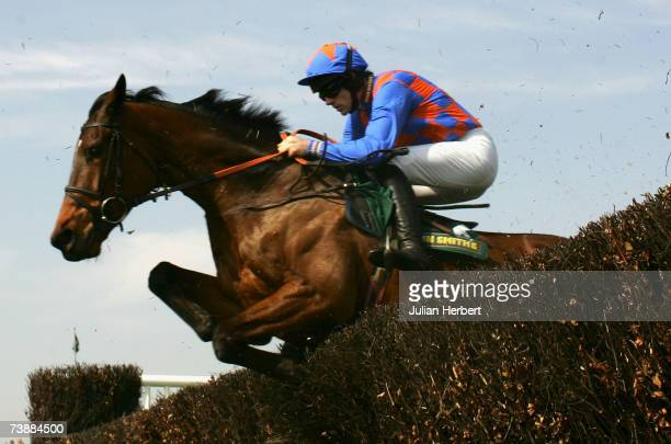 Ruby Walsh and Twist Magic clear an early fence before landing The John Smith's Maghull Novices Steeple Chase Race run at Aintree Racecourse on April...