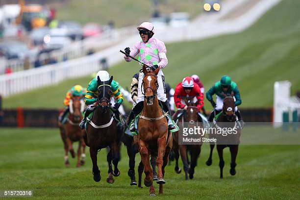 Ruby Walsh celebrates after riding Annie Power to victory in the Stan James Champion Hurdle Challenge Trophy Race on day one, Champion Day, of the...