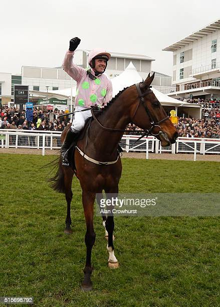Ruby Walsh celebrates after riding Douvan to win The Racing Post Arkle Challenge Trophy at Cheltenham racecourse on March 15 2016 in Cheltenham...