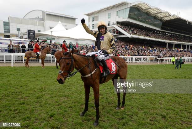 Ruby Walsh celebrates after victory in the Sun Bets Stayers Hurdle riding Nichols Canyon during St Patrick's Thursday of the Cheltenham Festival at...