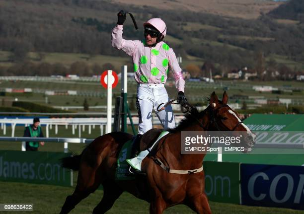 Ruby Walsh celebrates his victory on Douvan in the Sky Bet Supreme Novices' Hurdle