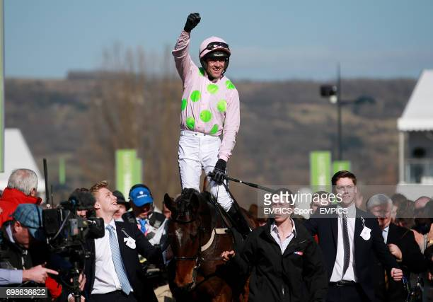 Ruby Walsh celebrates his victory on Douvan in the Sky Bet Supreme Novices Hurdle