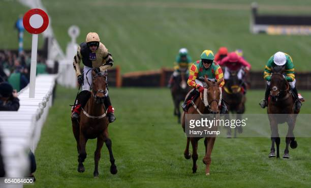 Ruby Walsh on board Nichols Canyon cross the line and celebrate after victory in the Sun Bets Stayers Hurdle during St Patrick's Thursday of the...