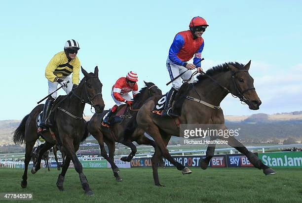 Ruby Walsh on Quevega crosses the line to win The Olbg Mares' Hurdle Race during The Festival Champion Day at Cheltenham Racecourse on March 11 2014...