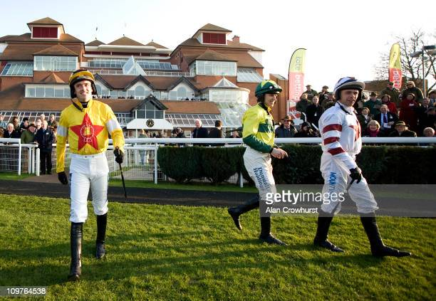 Ruby Walsh returns to race riding after breaking a leg in November at Newbury racecourse on March 04, 2011 in Newbury, England