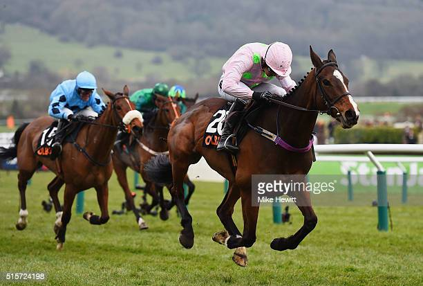 Ruby Walsh rides Vroum Vroum Mag in the OLBG Mares' Hurdle on day one Champion Day of the Cheltenham Festival at Cheltenham Racecourse on March 15...