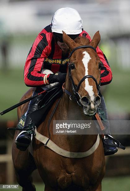 Ruby Walsh riding Asian Maze wins the Scottish and Newcastle Aintree Hurdle Race at Aintree Racecourse on April 8 2006 in Aintree England