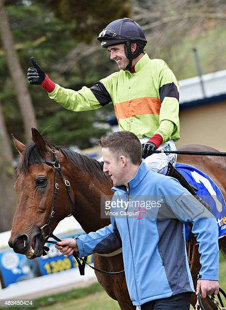 Ruby Walsh riding Bashboy after winning Race 4 The Ecycle Grand National Steeplechase during Grand National Steeple Day at Ballarat racecourse on...
