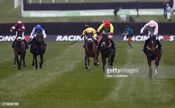 Ruby Walsh riding Douvan clear the last to win The Racing Post Arkle Challenge Trophy at Cheltenham racecourse on March 15 2016 in Cheltenham England