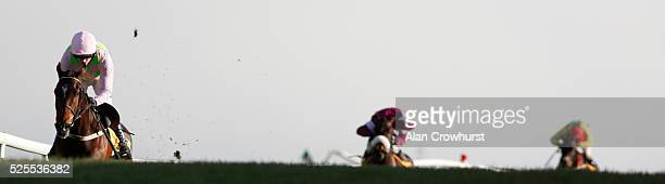 Ruby Walsh riding Douvan win The Ryanair Novice Steeplechase at Punchestown racecourse on April 28 2016 in Naas Ireland