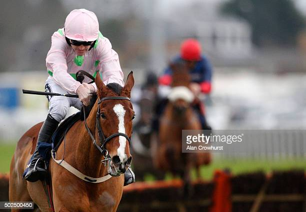 Ruby Walsh riding Faugheen clear the last to win The williamhillcom Christmas Hurdle Race at Kempton Park racecourse on December 26 2015 in Sunbury...