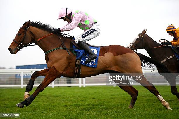 Ruby Walsh riding Faugheen on his way to win win The Coral Hurdle at Ascot Racecourse on November 22 2014 in Ascot England