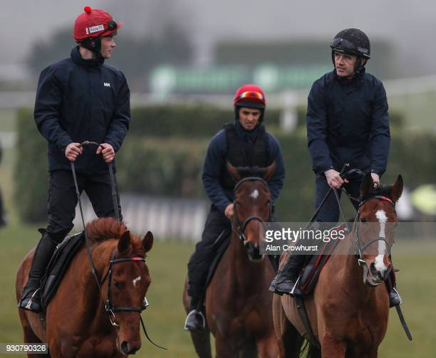 Ruby Walsh riding Faugheen on the gallops at Cheltenham racecourse on March 12 2018 in Cheltenham England