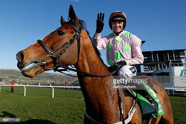 Ruby Walsh riding Faugheen win The Stan James Champion Hurdle at Cheltenham racecourse on March 10 2015 in Cheltenham England