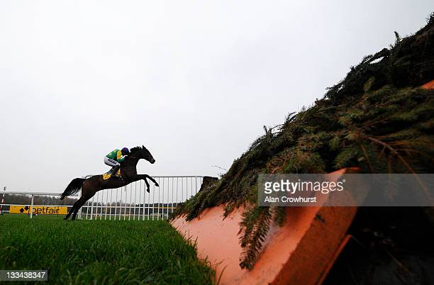 Ruby Walsh riding Kauto Star clear the last to win The Betfair Steeple Chase at Haydock racecourse on November 19 2011 in Haydock England