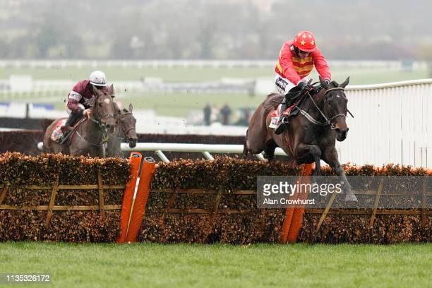 Ruby Walsh riding Klassical Dream clear the last to win The Sky Bet Supreme Novices' Hurdle at Cheltenham Racecourse on March 12 2019 in Cheltenham...