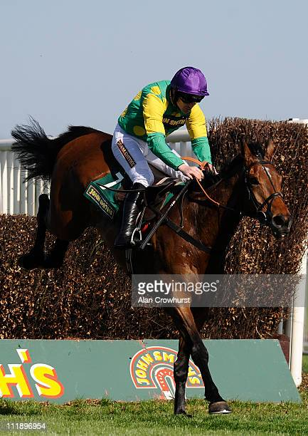 Ruby Walsh riding Master Minded clears the last to win The John Smith's Melling Steeple Chase at Aintree racecourse on April 08, 2011 in Liverpool,...