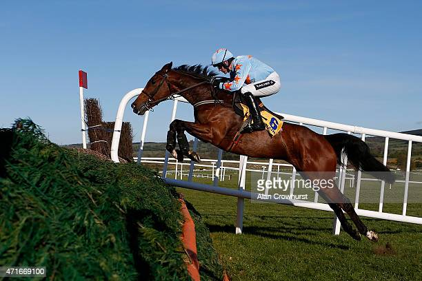 Ruby Walsh riding Un De Sceaux clear the first fence on their way to winning The Ryanair Novice Chase at Punchestown racecourse on April 30 2015 in...