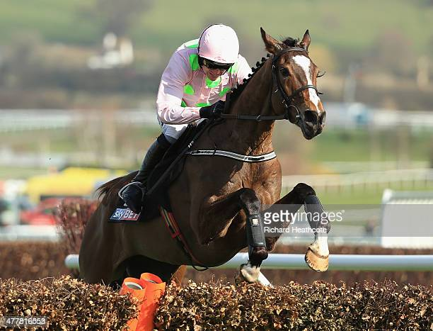 Ruby Walsh riding Vautour jumps the last fence in The Sky Bet Supreme Novices' Hurdle during The Festival Champion Day at Cheltenham Racecourse on...