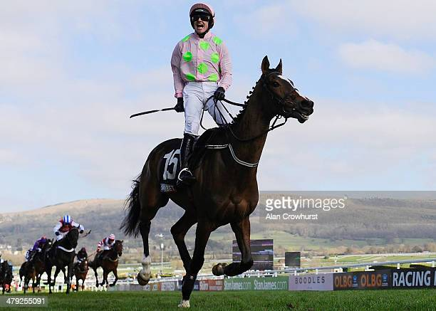 Ruby Walsh riding Vautour win The Sky Bet Supreme Novices' Hurdle Race at Cheltenham racecourse on March 11 2014 in Cheltenham England