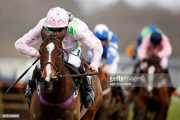 Ruby Walsh riding Vroum Vroum Mag clear the last to win The OLBGcom Mares' Hurdle Race at Ascot racecourse on January 23 2016 in Ascot England