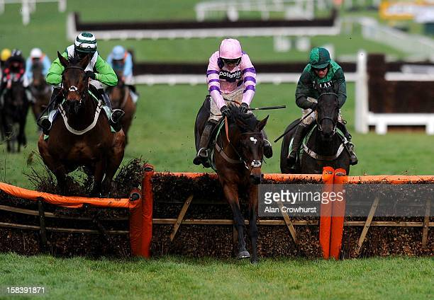 Ruby Walsh riding Zarkandar clear the last to win the StanJames.com International Hurdle Race at Cheltenham racecourse on December 15, 2012 in...
