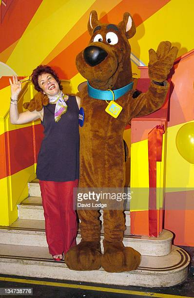 Ruby Wax with ScoobyDoo during Toon Room Animation Suite Press Launch at YCTV Studios in London Great Britain