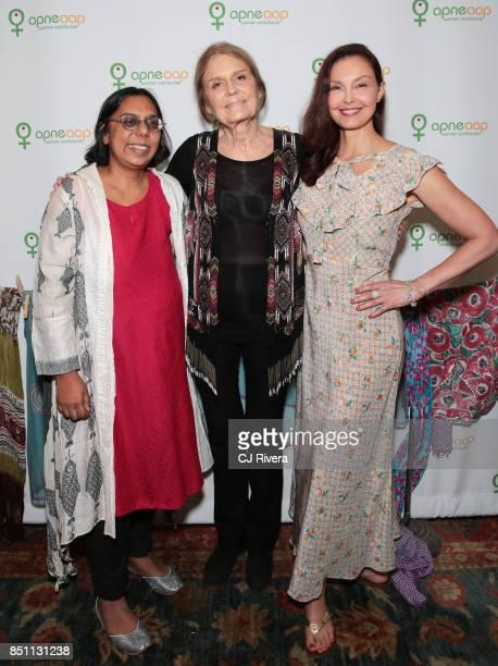 Ruchira Gupta Gloria Steinem and Ashley Judd attend the APNE Aap dinner on September 21 2017 in New York City