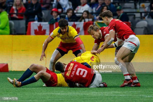 Ruck action in Match, Canada vs Spain during the Canada Sevens, Round 6 of the HSBC World Rugby Sevens Series, held on March 8 at BC Place in...