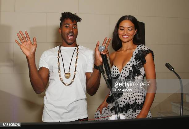 Ruckus and Shanina Shaik pose at the David Jones Spring Summer 2017 Collections Launch after party at David Jones Elizabeth Street Store on August 9...