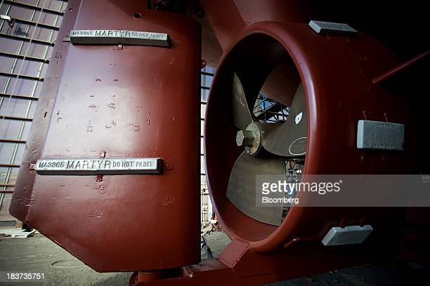 A rudder and propeller are seen on the Pacer tugboat as it undergoes repairs at the Seaspan Vancouver Shipyard in North Vancouver British Columbia...